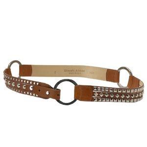 Vintage Streets Ahead Brown Leather Studded Belt